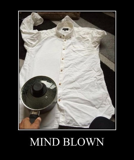 mind blown life hacks iron shirt funny