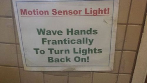 monday thru friday sign lights bathroom