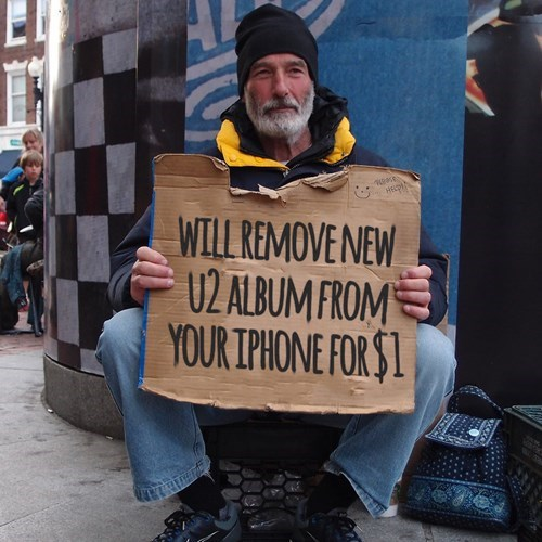 u2,homeless signs,iphone 6,homeless,apple