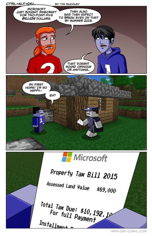 ctrl alt del,minecraft,mojang,microsoft,web comics