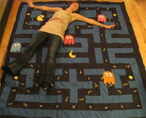 Knitta Please quilt nerdgasm pac man video games g rated win - 8321323776