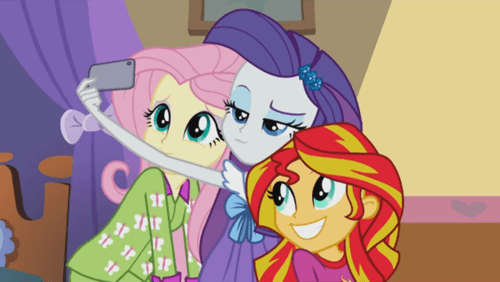 equestria girls,rarity,selfie,sunset shimmer,fluttershy