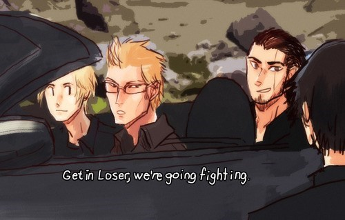 get in loser,final fantasy,Memes,final fantasy xV,road trip