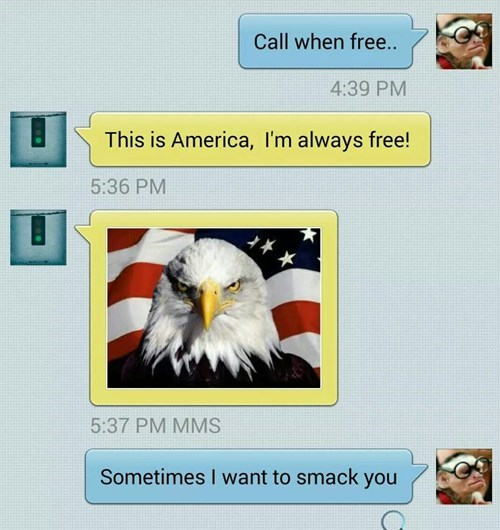 freedom murica eagle texting - 8322432256
