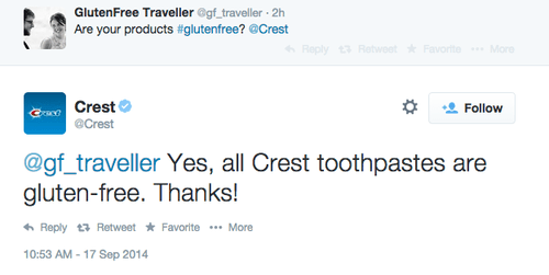 twitter,toothpaste,gluten free