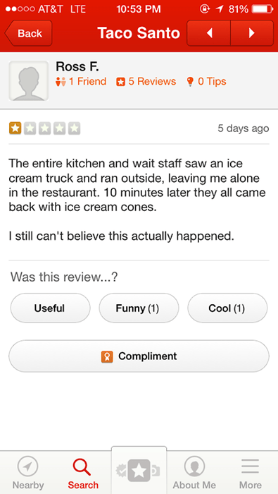 customer service,ice cream,yelp,failbook