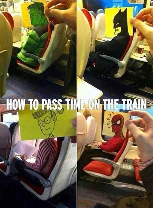 post-it notes public transportation superheroes - 8323170048