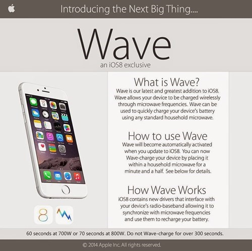 Smartphone - Introducing the Next Big Thing... Wave an iOS8 exclusive What is Wave? Wave is our latest and greatest addition to iOs8 Wave allows your device to be charged wirelessly through microwave frequencies. Wave can be used to quickly charge your device's battery using any standard household microwave. How to use Wave Wave will become automatically activated when you update to ios8. You can now Wave-charge your device by placing it within a household microwave for a minute and a half. See