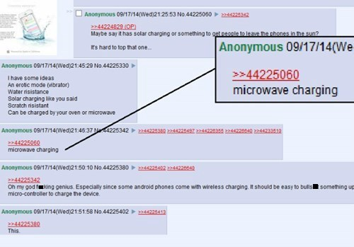Text - Anonymous 09/17/14(Wed)212553 No.44225050 72342 44224029 (OP) Maybe say it has solar charging or something to get people to leave the chones in the sun? Anonymous 09/17/14(We Ir's hard to top that one. Anonymous 09/17/140Wed)21:4529 No 44225330 44225060 microwave charging Ihave some ideas An erotic mode (vibrator) Water risistance Solar charging like you said Scratch risistant Can be charged by your oven or microwave Anonymous 09/17/140Wed)21.4637 M4225342 224422530 2244225497 22442203 22