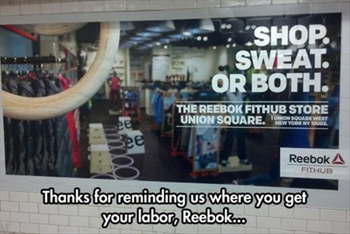 advertisement monday thru friday reebok sweatshop - 8323311616