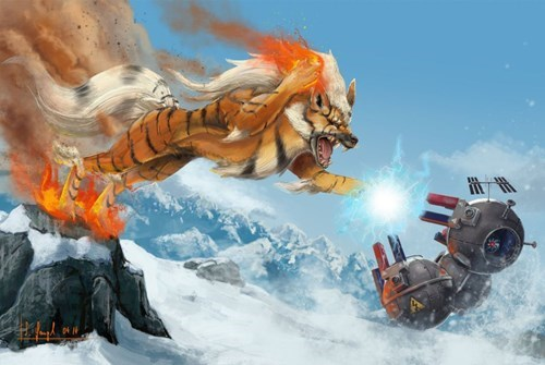 arcanine,Fan Art,magneton