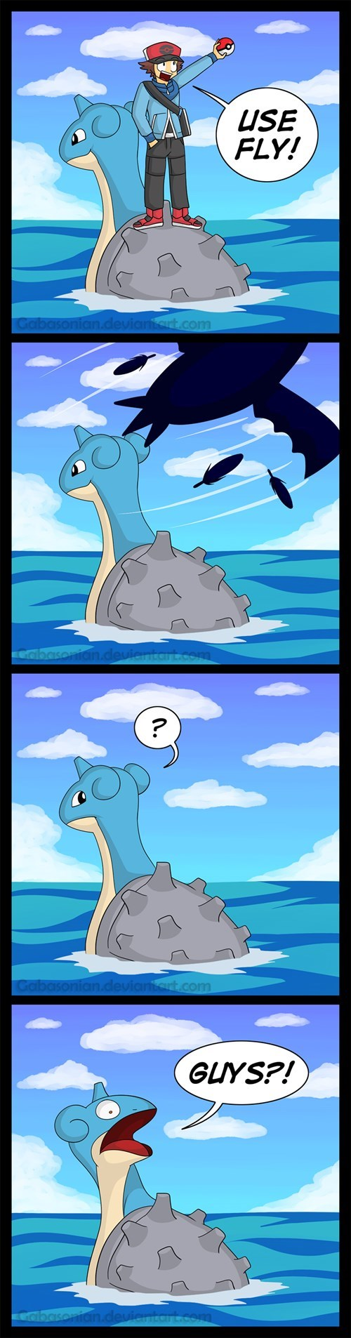 fly,lapras,Pokémon,surf,Sad