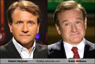 Side by side picture of Robert Herjavec and Robin Williams from different time periods to show how the two can look similar too each other.