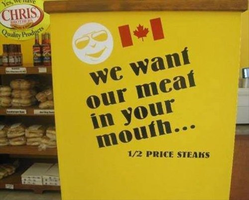 grocery store meat monday thru friday sign