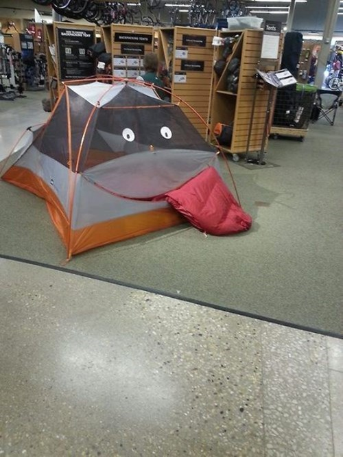 monday thru friday,retail,tent,eyes,tongue out,sleeping bag,g rated