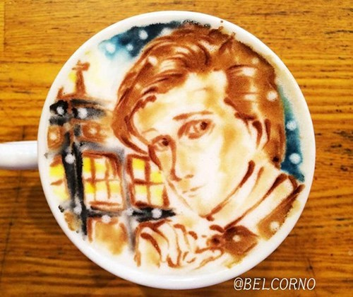 doctor who,coffee,latte,latte art,its a doctor who joke am i doing it right