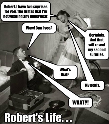 Robert's Life. . . Robert, I have two suprises for you. The first is that I'm not wearing any underwear. Wow! Can I see? Certainly. And that will reveal my second surprise. What's that? My penis. WHAT?!