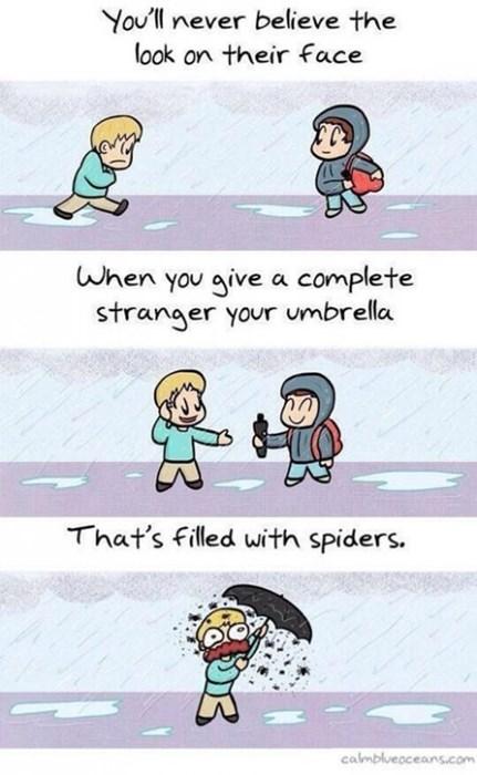 spiders win umbrella web comics - 8326953984