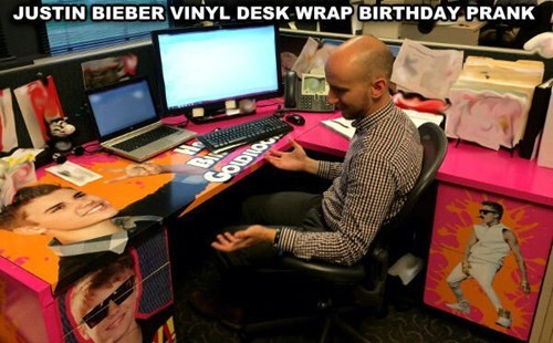 birthday,cubicle prank,justin bieber,monday thru friday,prank
