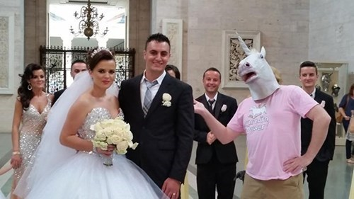 funny wedding photos horse masks - 8327059456