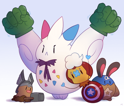 avengers,crossover,diglett,drifloon,Fan Art,Pokémon,togekiss,sentret