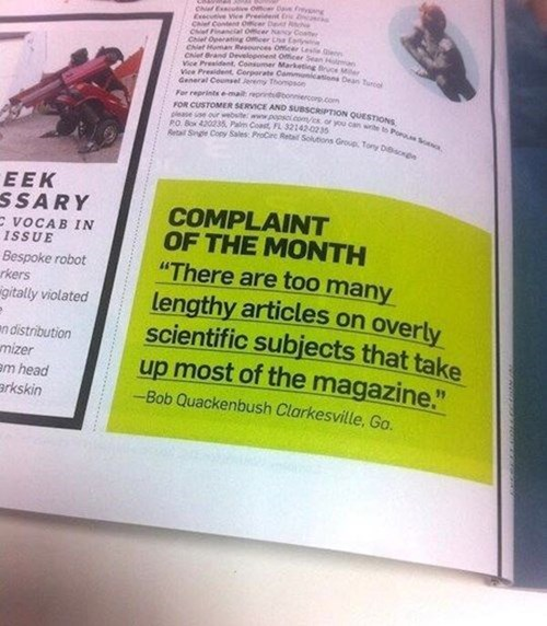 complaining,monday thru friday,popular science,magazine,science,g rated