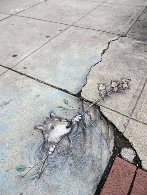 cute,chalk art,Street Art,hacked irl