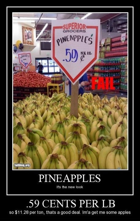 pineapples sign bananas wrong Cents