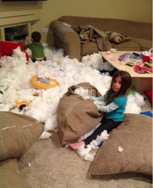 kids,parenting,stuffing,mess