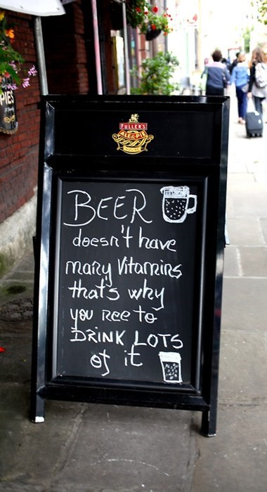 beer funny sign vitamins pub