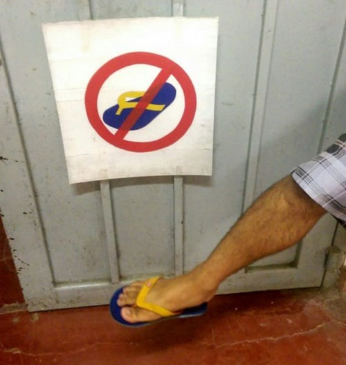 banned,flip flops,poorly dressed