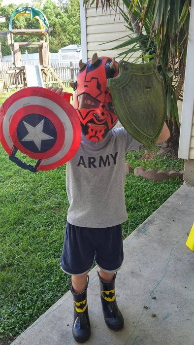 captain america,costume,darth maul,kids,mask,shield,parenting