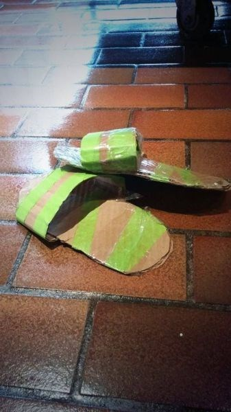 cardboard poorly dressed slippers tape - 8330493440
