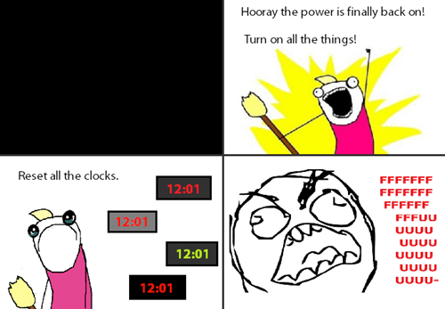 all the things,clock,rage,power outage