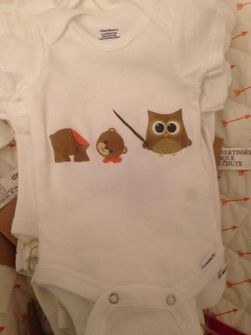 bear Owl onesie poorly dressed - 8332898304