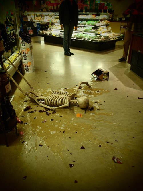 grocery store,monday thru friday,skeleton,spill,mess