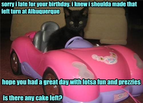 sorry i late for your birthday. i knew i shoulda made that left turn at Albuquerque hope you had a great day with lotsa fun and prezzies is there any cake left?