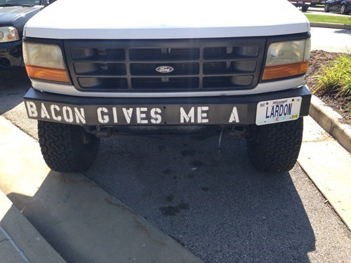 puns,food,license plate,bacon