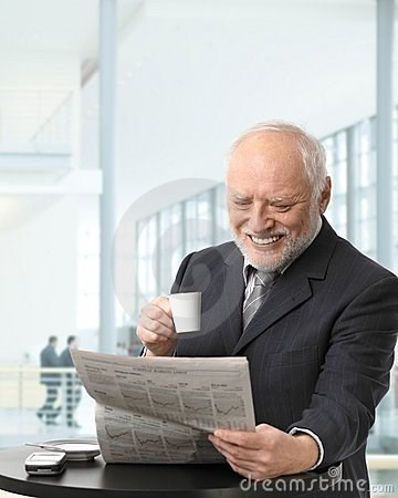 stock photo of Hide the Pain Harold holding back tears while reading the newspaper