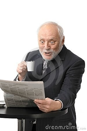 stock photo of Hide the Pain Harold surprised while reading the news