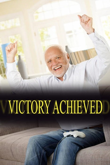 stock photo of Hide the Pain Harold looking happy but still reserved