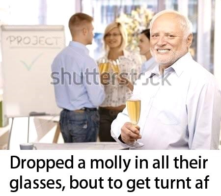 stock photo of Hide the Pain Harold forcing a smile during a formal toast