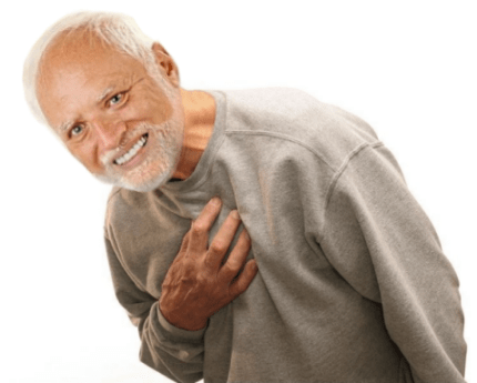 Hide the Pain Harold edited over stock photo of man with chest pain
