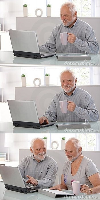 stock photos of Hide the Pain Harold tortuously using the laptop and showing it to a second Harold