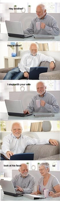 comic using stock photos of Hide the Pain Harold pranking his brother with fidelity