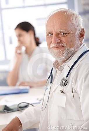stock photo of Hide the Pain Harold smirking sadly in a doctor's robe