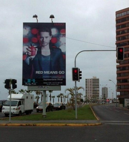 red means go cologne ads stoplights