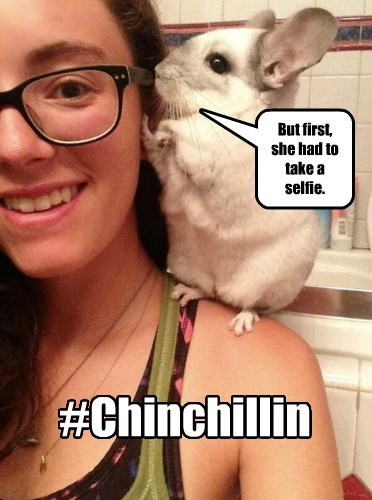 But first, she had to take a selfie. #Chinchillin