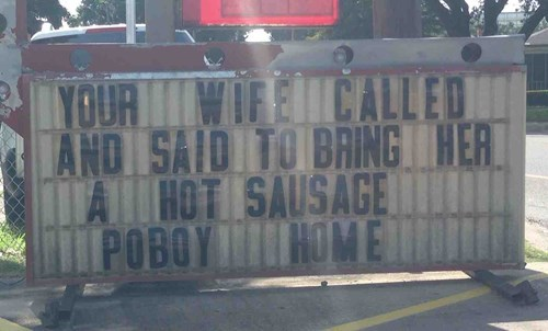 funny,sign,sandwhich,sausage