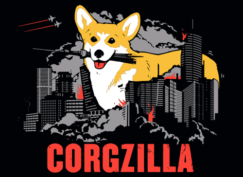 corgi for sale godzilla tshirts - 8337404160